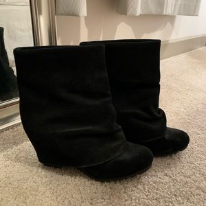 Suade Black Wedge Booties